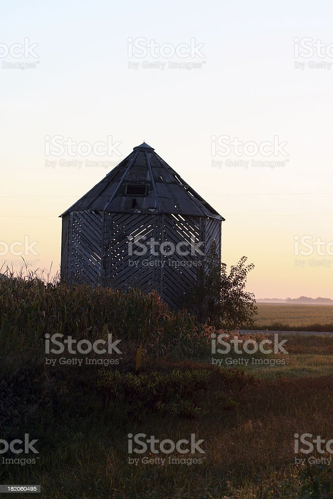 Old Corncrib in Late Summer royalty-free stock photo