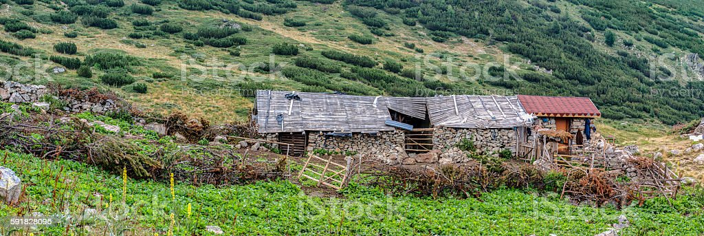 Old cottage in a mountain royalty-free stock photo