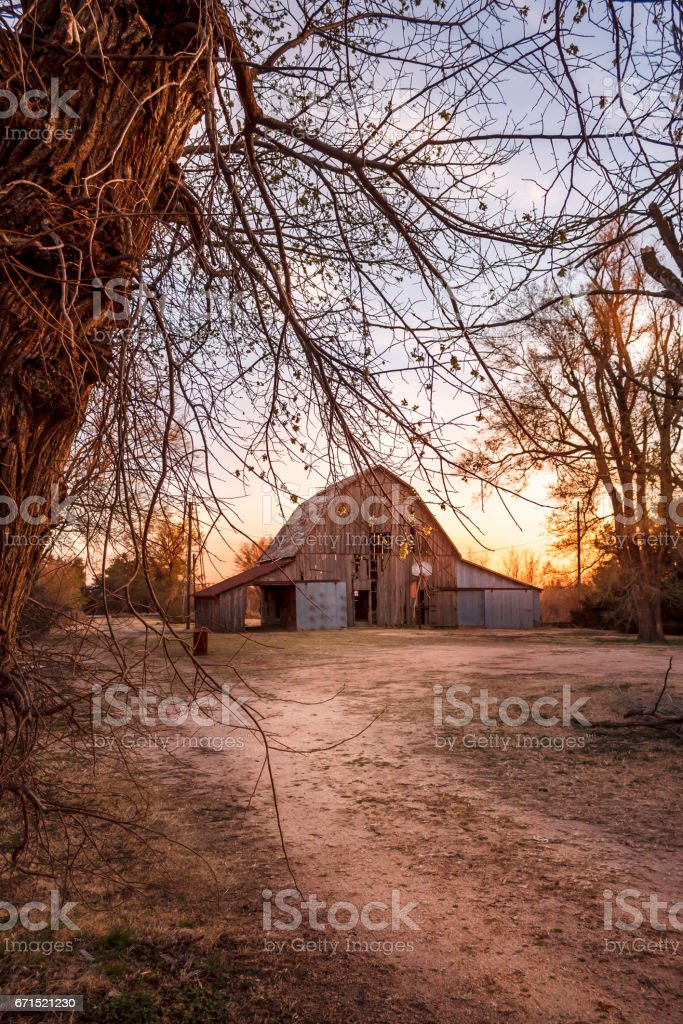 Old Country Barn at Sunset stock photo