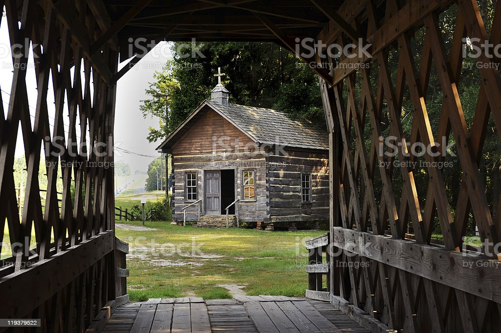 Old Country Log Church stock photo