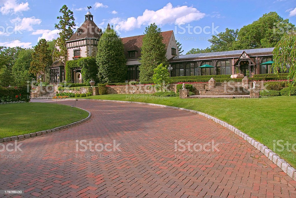 old country manor home stock photo