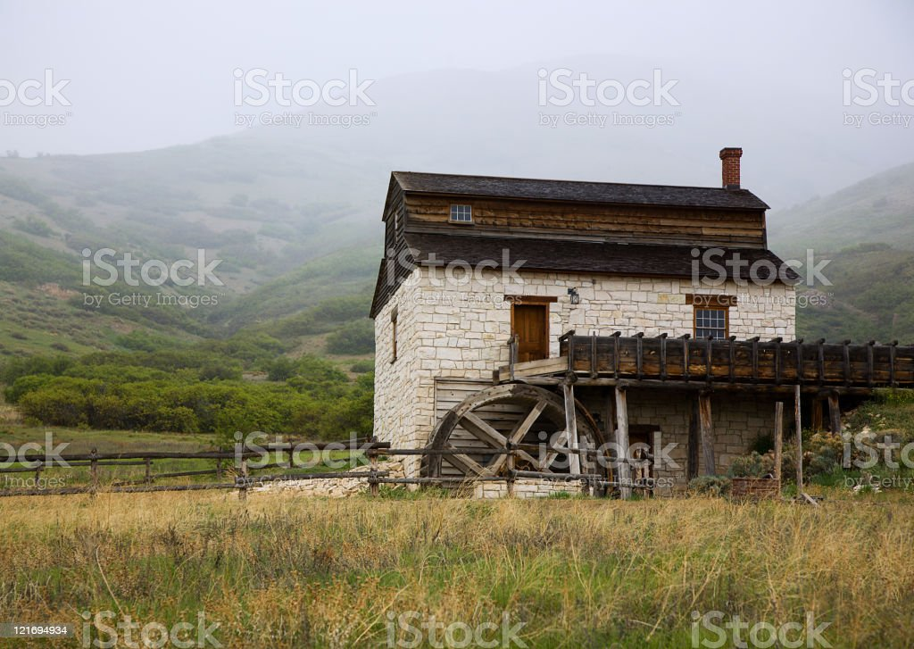 Old Country Mill in the Rain royalty-free stock photo