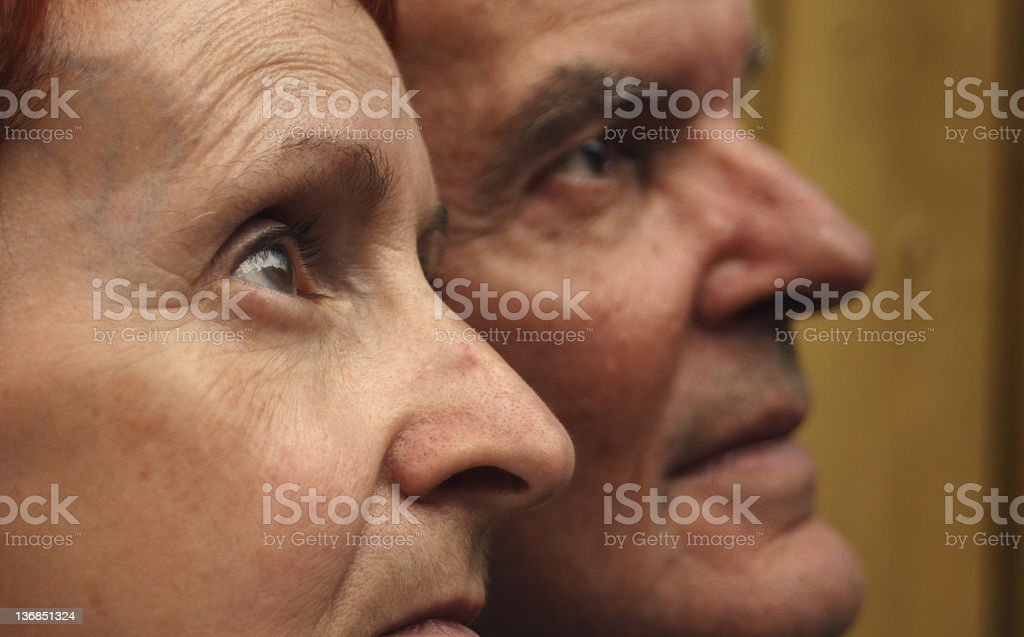 Old couple looking at something royalty-free stock photo
