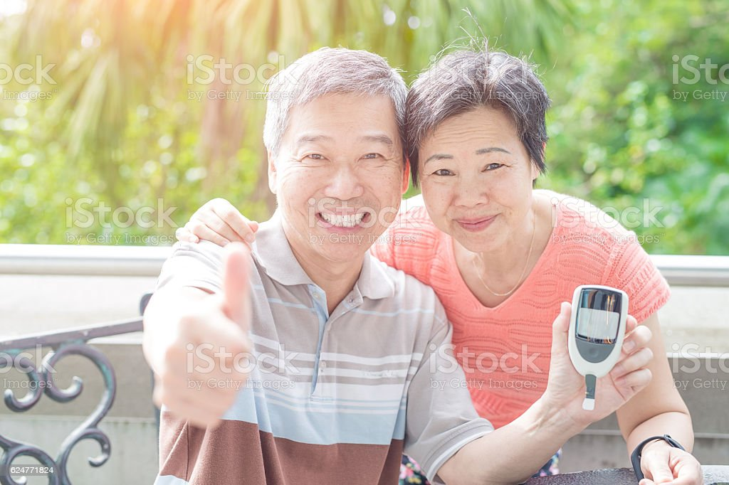 old couple prevention of diabetes stock photo