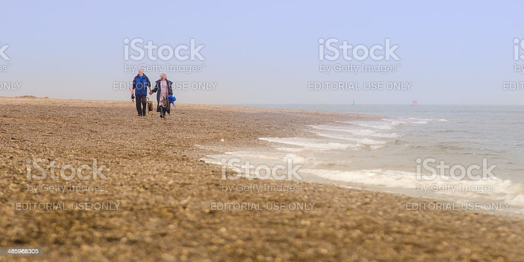 Old couple walking on the beach stock photo