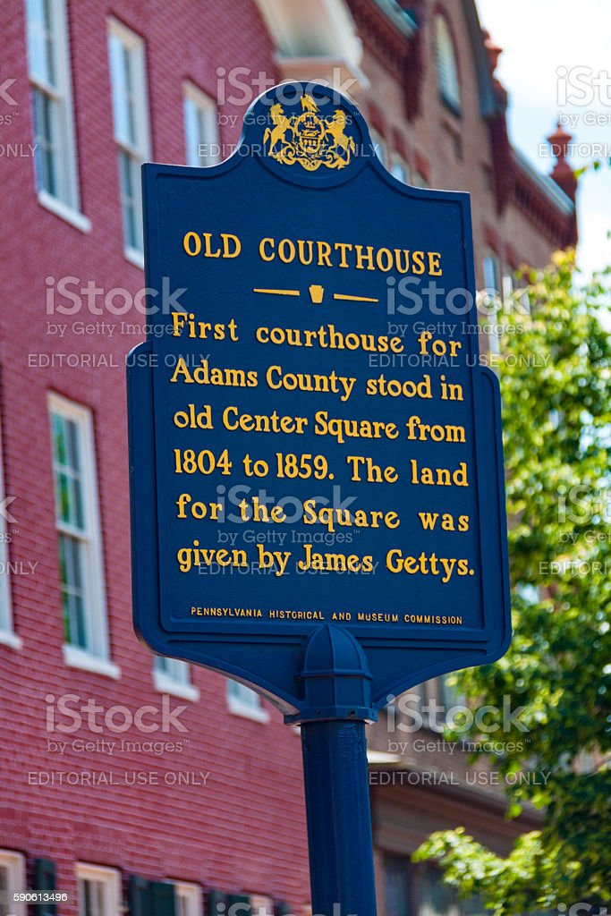 Old Courthouse Adams County Historic Marker stock photo