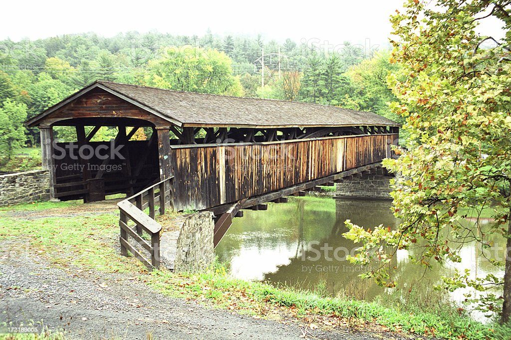 Old Covered Bridge In Autumn royalty-free stock photo