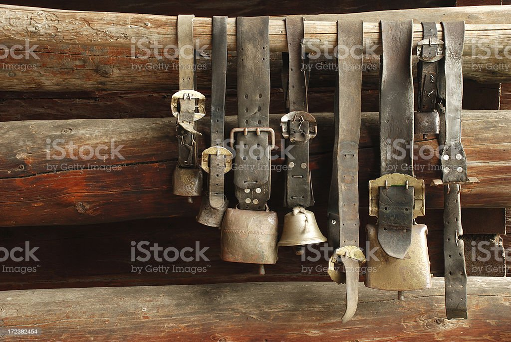 Old cow bells stock photo