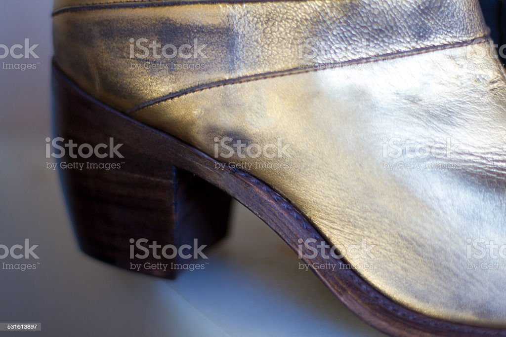 Old Cowboy Boot Detail (Close-Up) stock photo