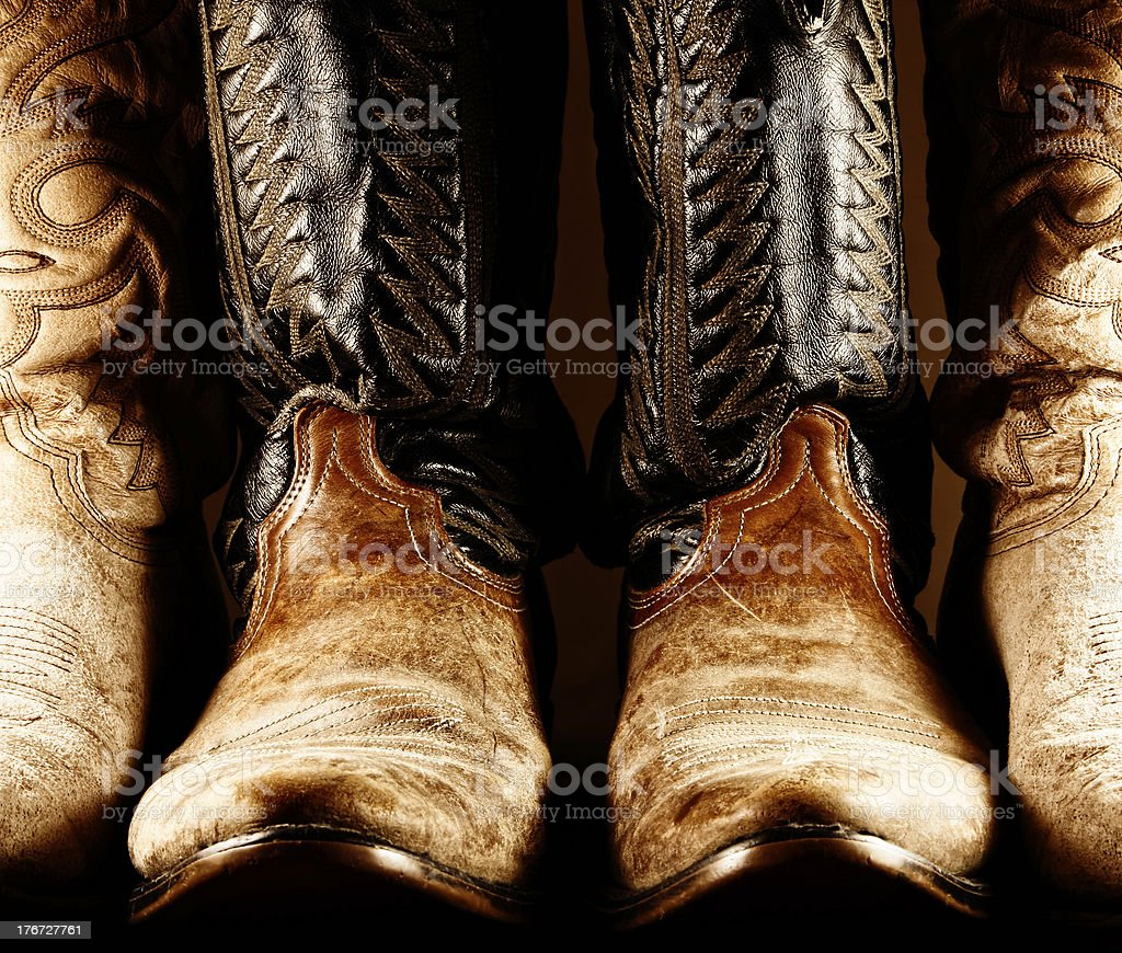 Old Cowboy Boots in High Contrast royalty-free stock photo