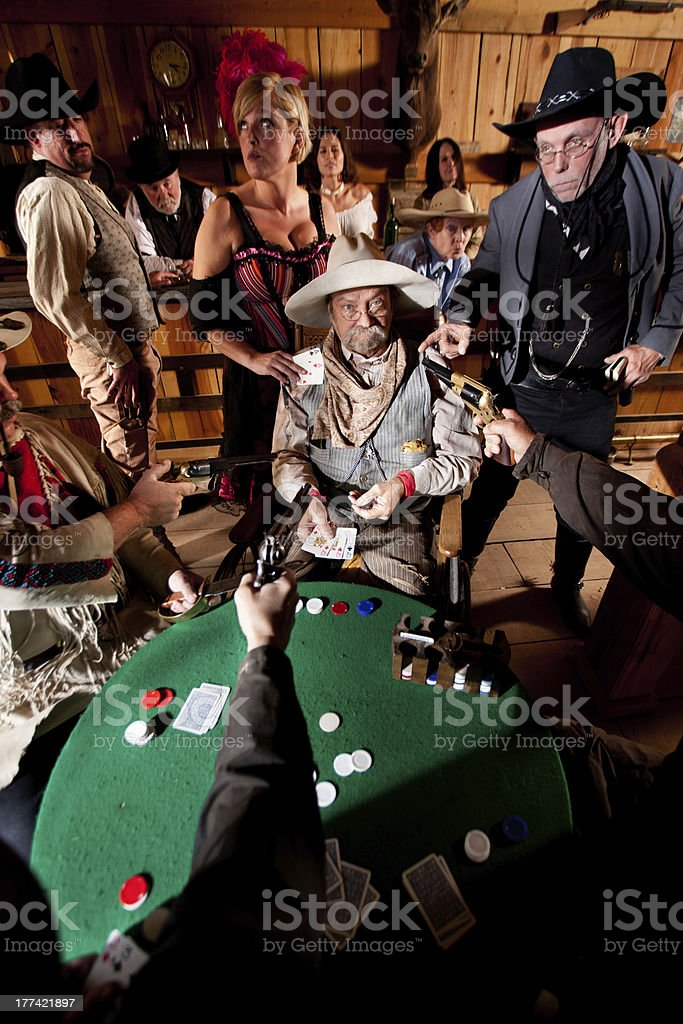 Old Cowboy Caught Cheating stock photo