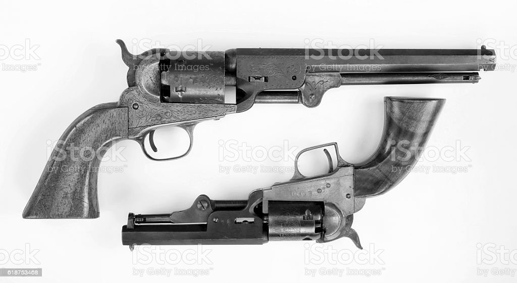 Old Cowboy Pistols. stock photo
