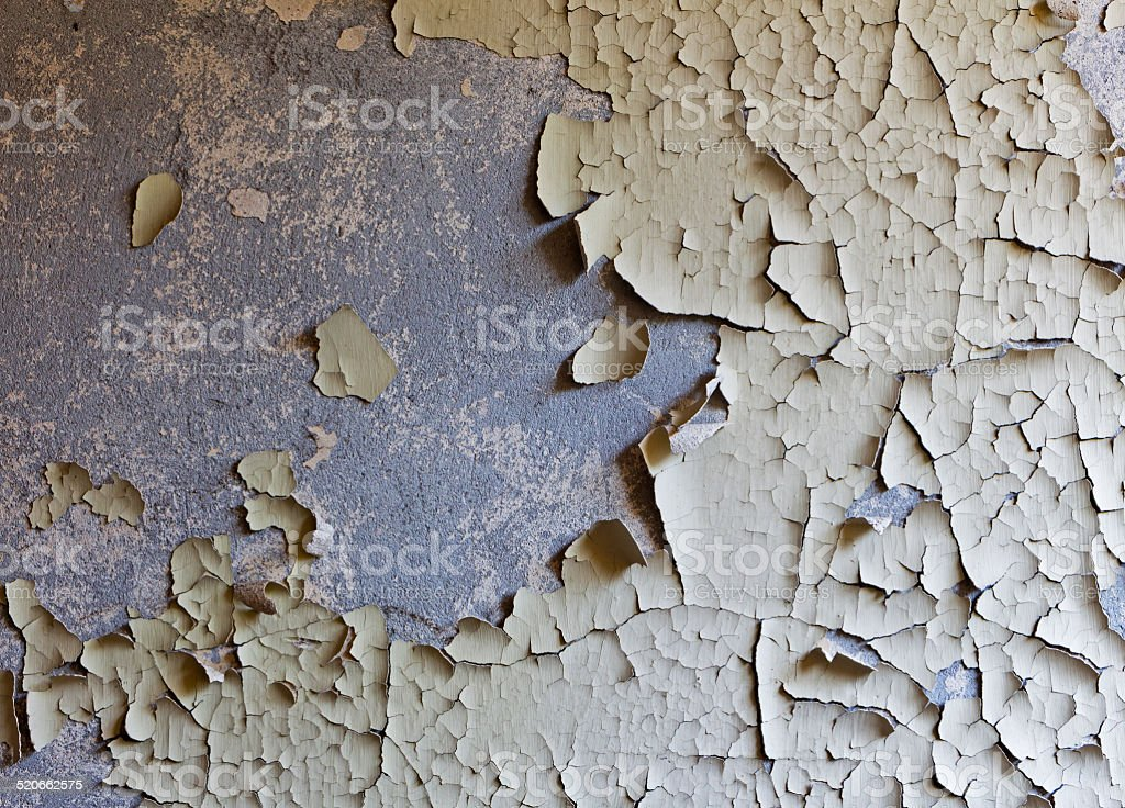 Old cracked and abandoned wall of building stock photo