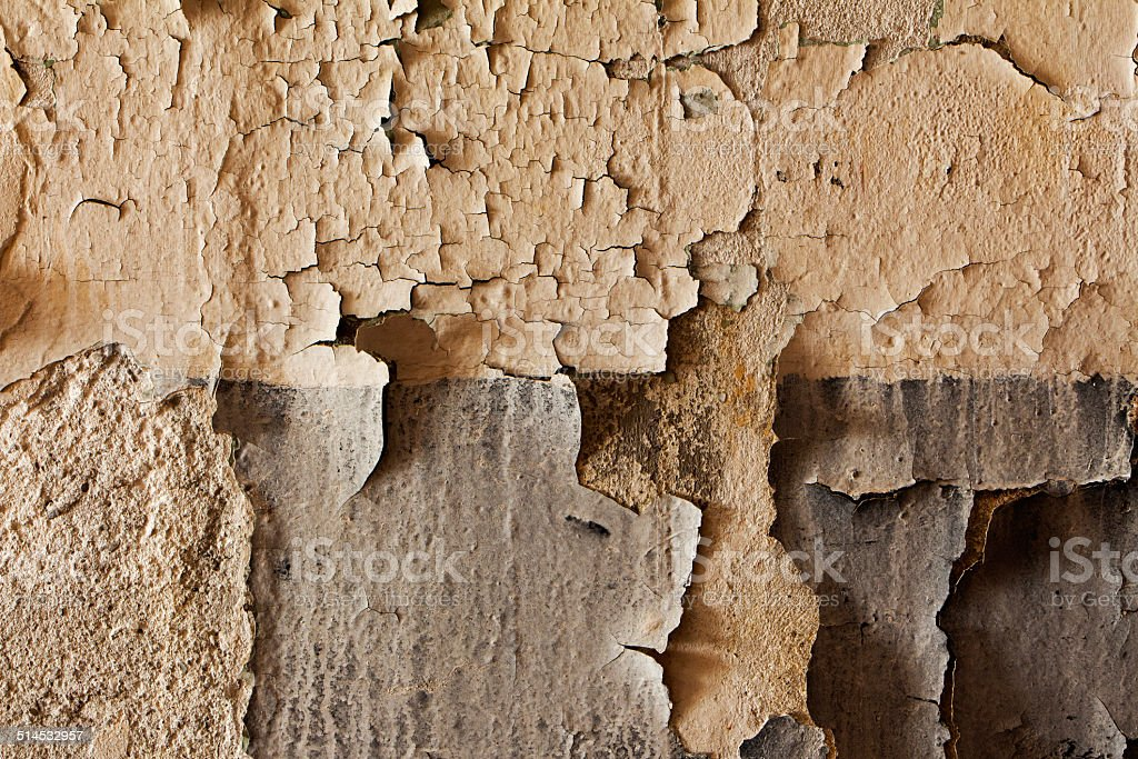 Old cracked and dilapidated wall of building stock photo