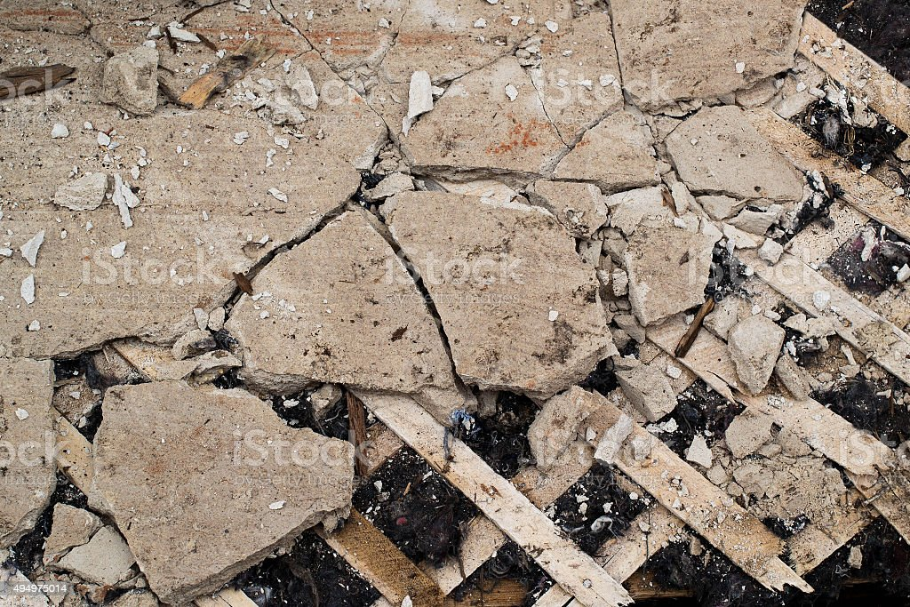 Old cracked plaster and lath stock photo