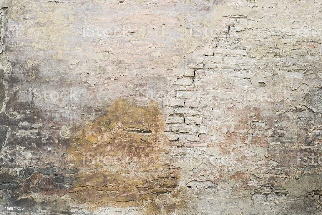Old Cracked Plastered Medieval Roman Brick Wall Background Texture stock photo