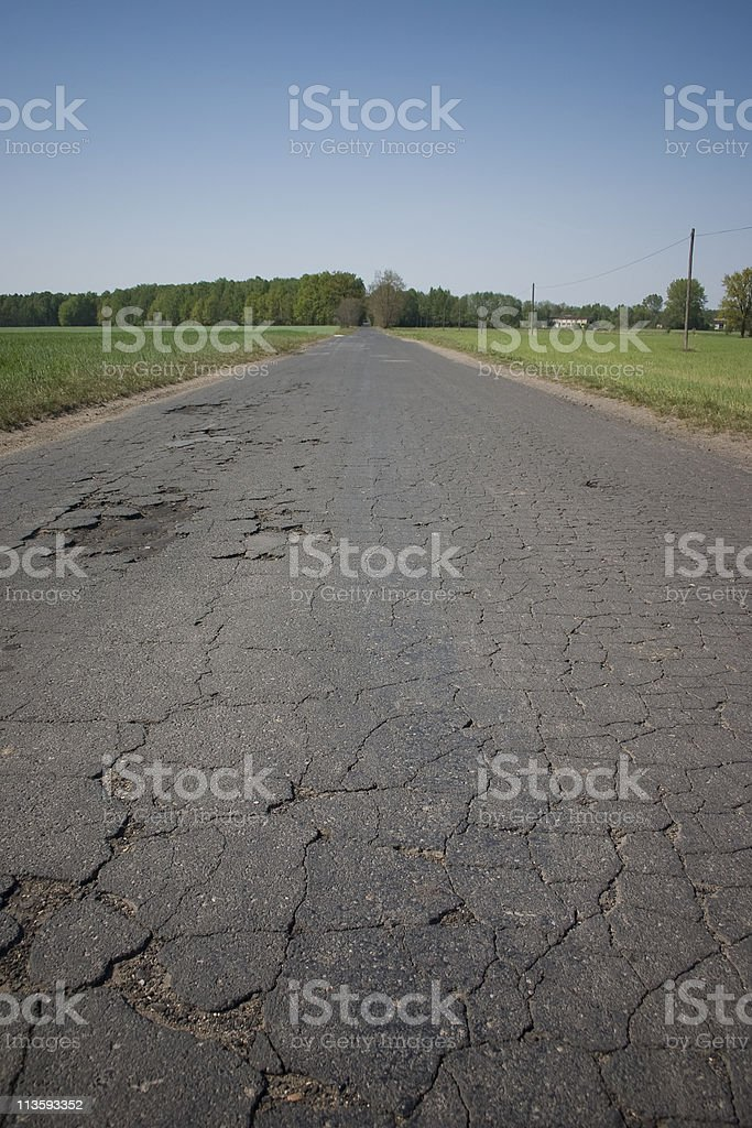 Old, cracked road stock photo