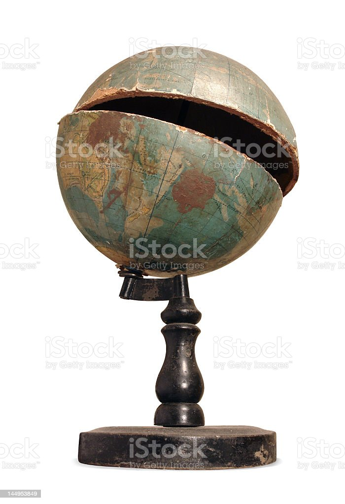 Old cracked terrestrial globe stock photo