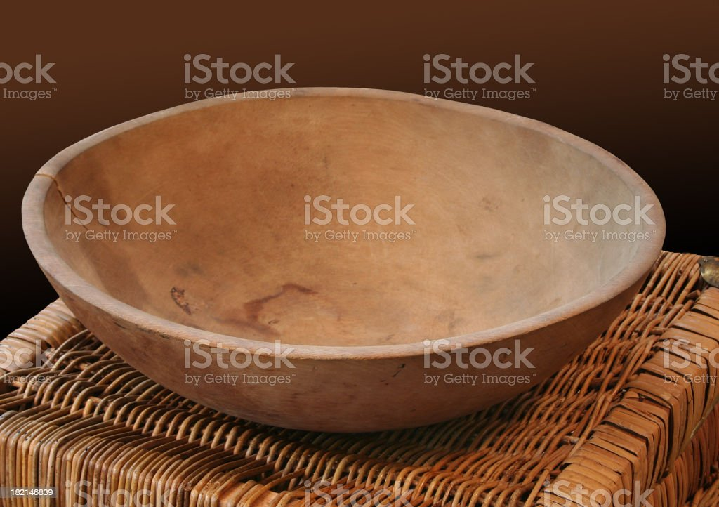 Old Cracked Wooden Bowl royalty-free stock photo