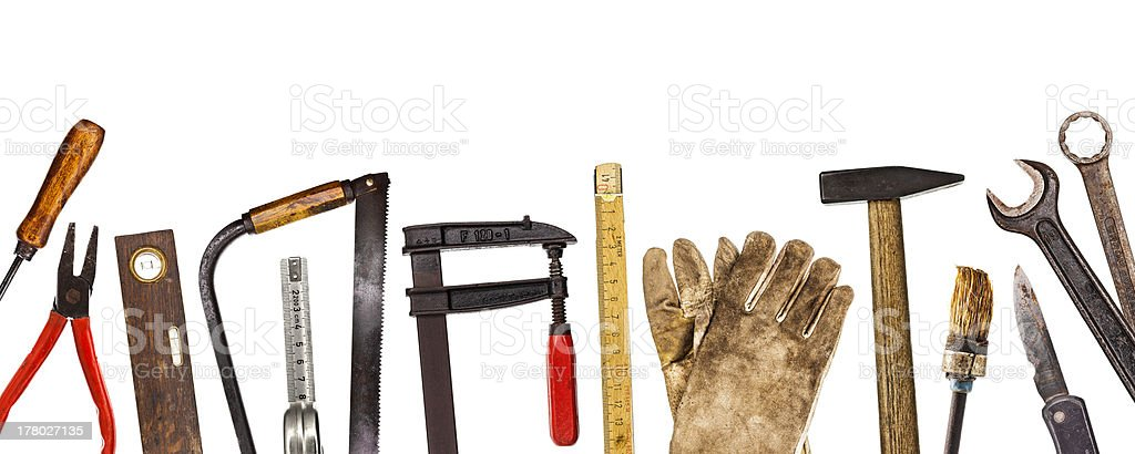 Old craftsman tools isolated on white royalty-free stock photo