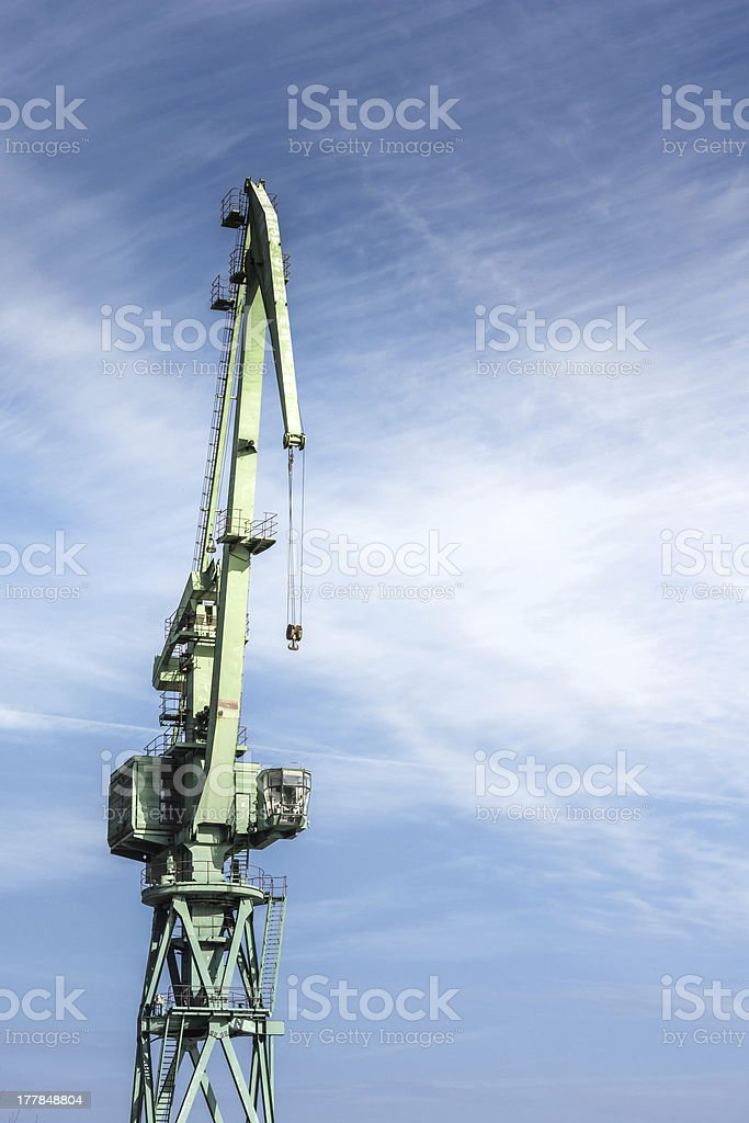 old Cran in the blue Sky stock photo