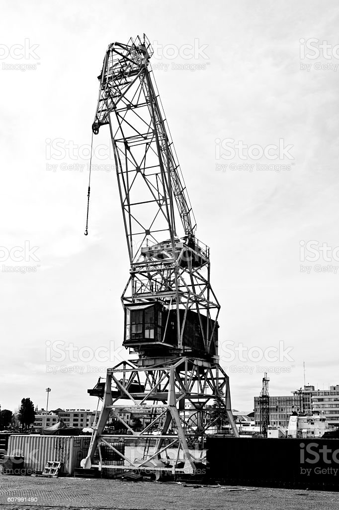 Old Crane in Black and White stock photo