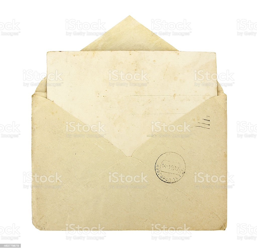 Old cream vintage envelope with blank card stock photo