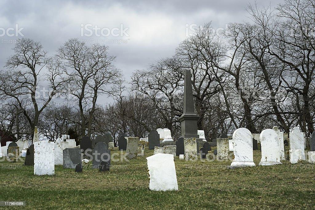 Old creepy cemetery stock photo