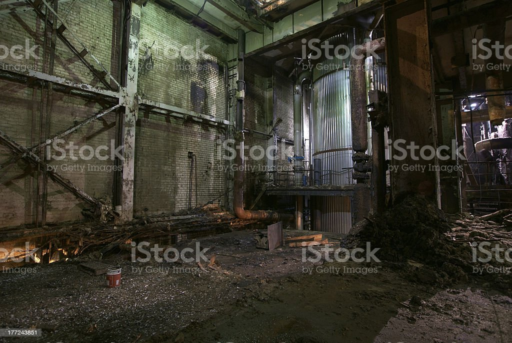 old creepy dark decaying dirty factory royalty-free stock photo