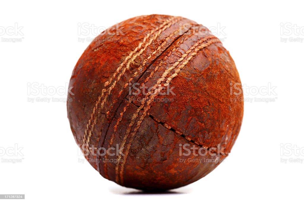 Old cricket ball stock photo