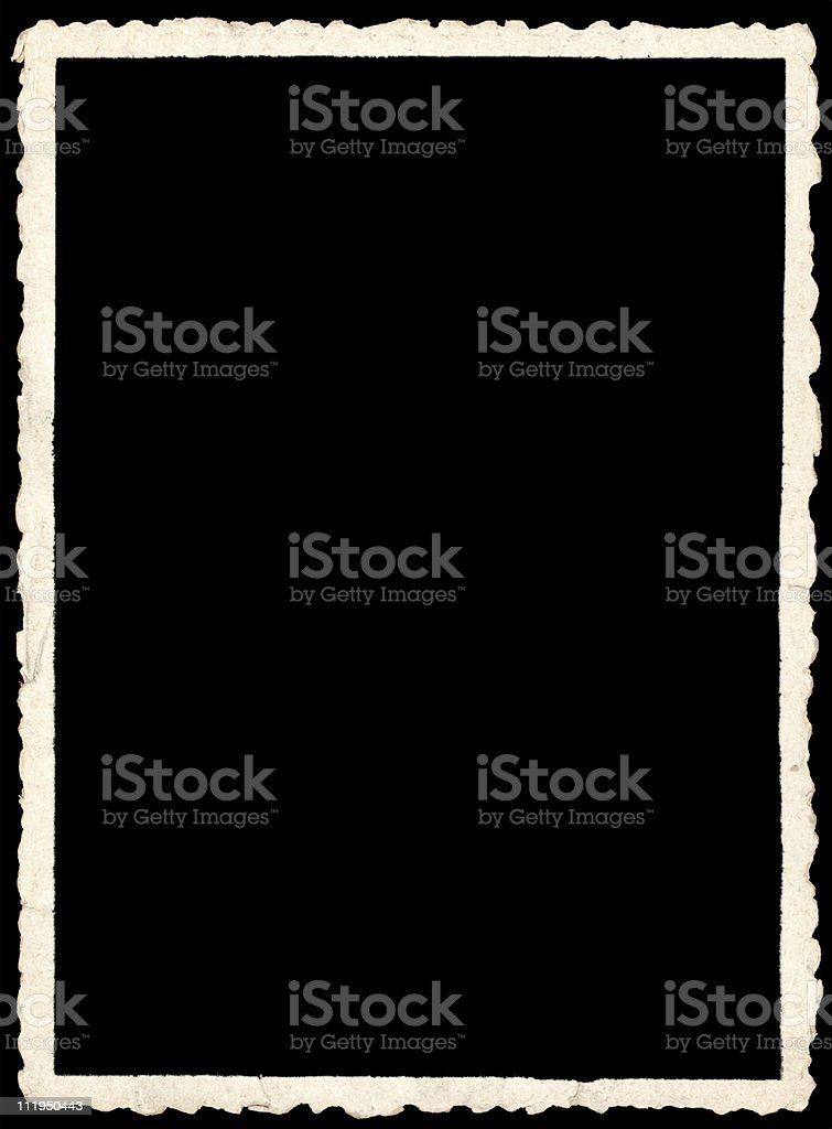 Old crinkle edged photo on black backround royalty-free stock photo