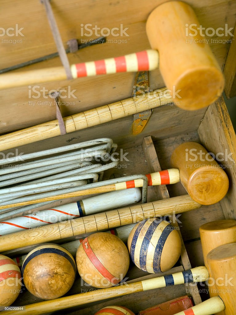 Old croquet set close up stock photo
