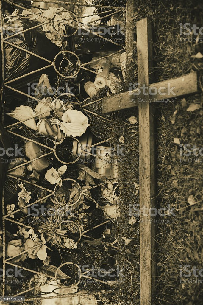 Old cross, Trash in the cemetery stock photo