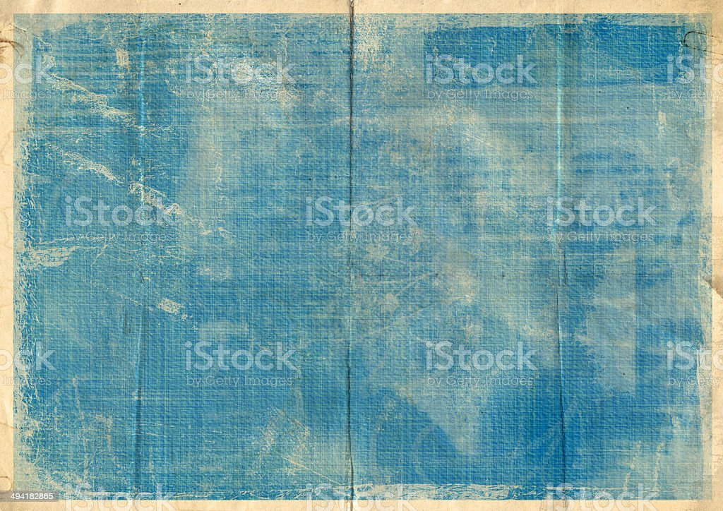 Old crumpled vintage card with dirty spots and stains stock photo