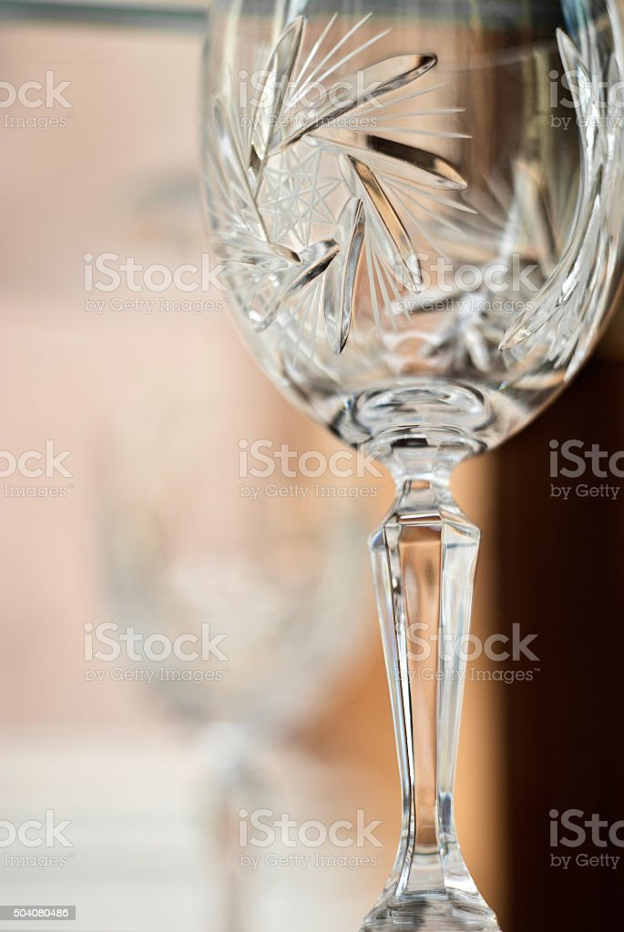 old crystal wineglass stock photo