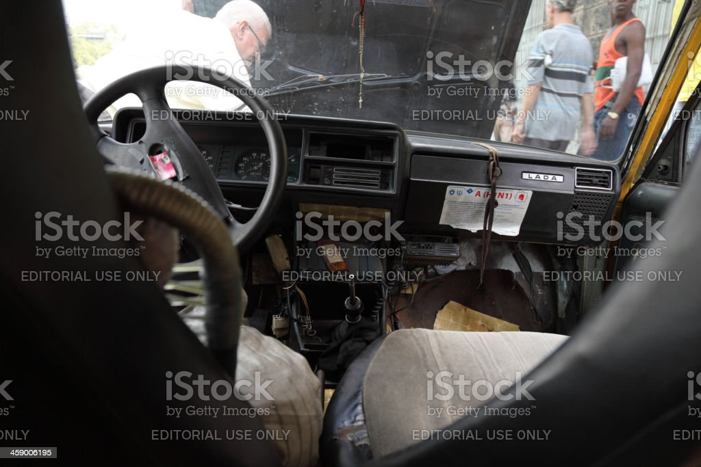 Old Cuban taxi broke down royalty-free stock photo