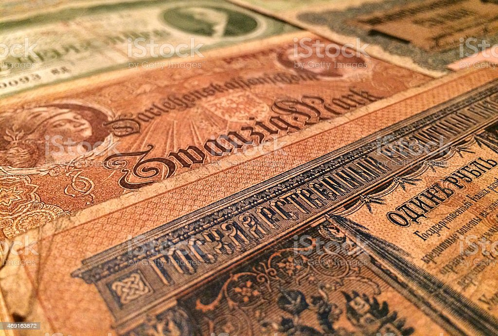 Old currency - German & Russian money stock photo