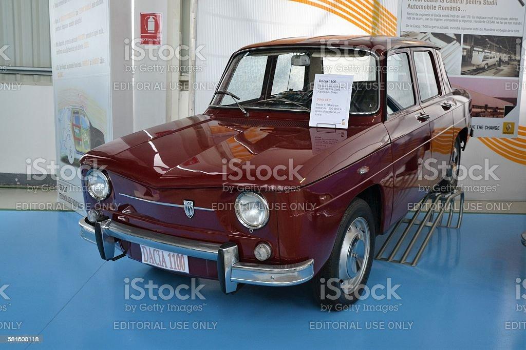 Old Dacia 1100 in the showroom stock photo