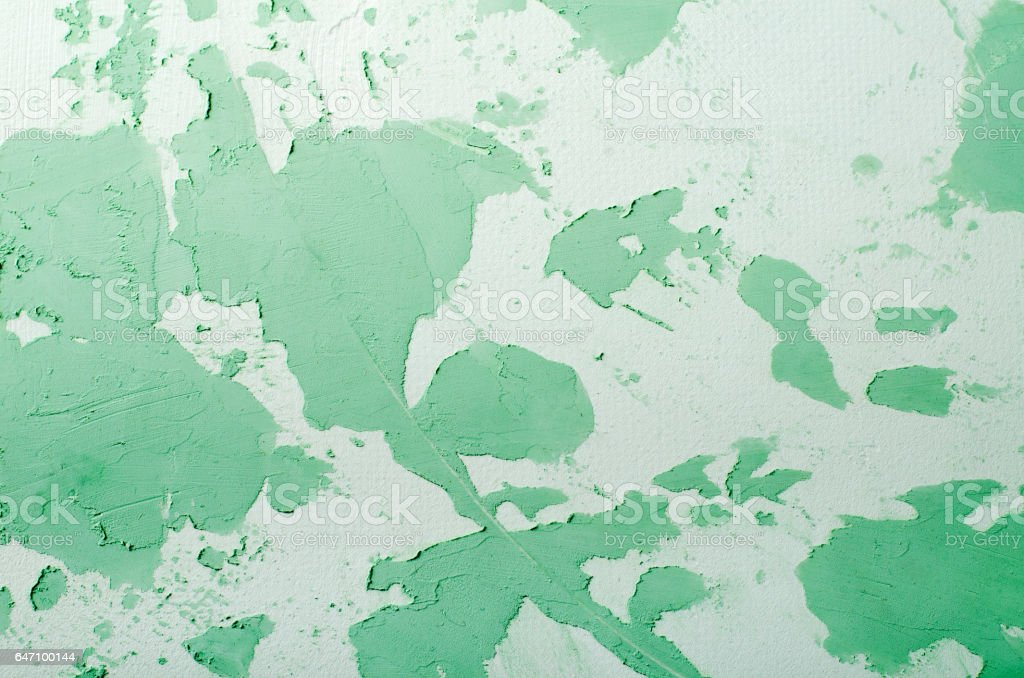 Old Damaged Cracked Paint Wall, Grunge Background, green pastel color stock photo