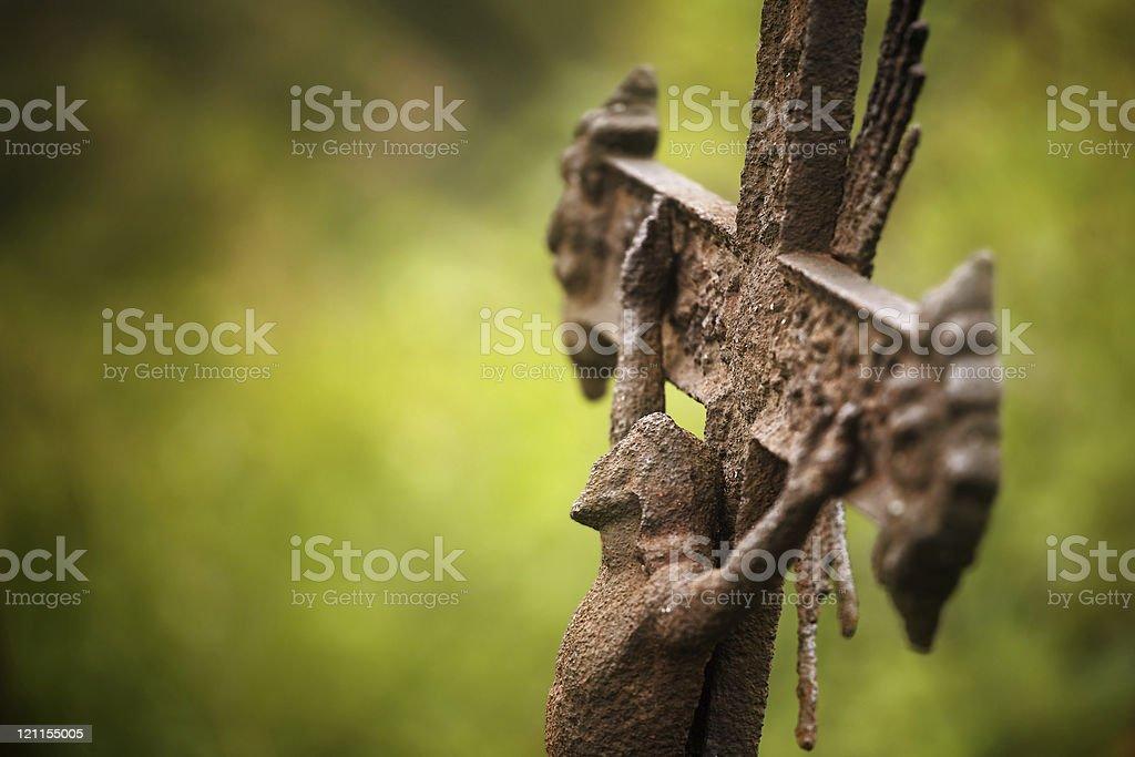 old damaged crucifix royalty-free stock photo