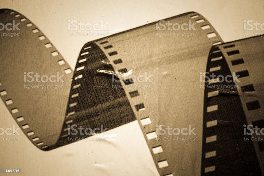 Old Damaged Film Poster, Antique Grayscale stock photo