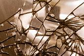 Old damaged mirror glass