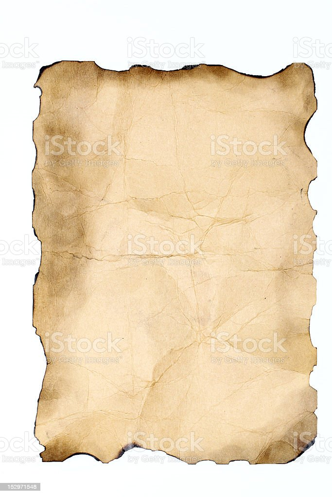Old damaged paper on white background royalty-free stock photo