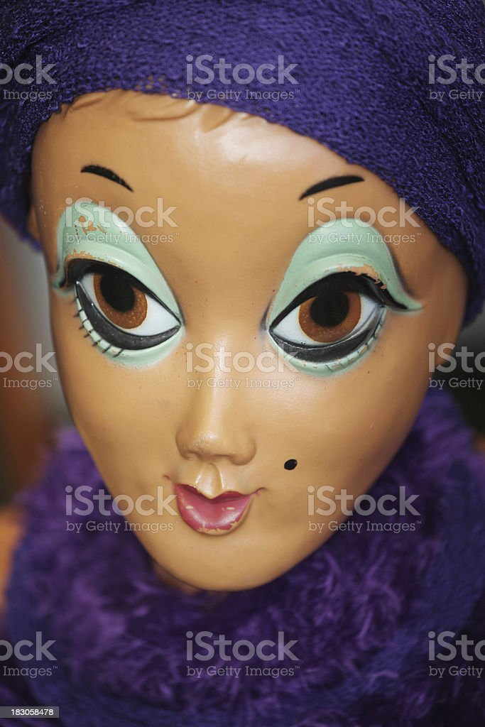 Old damaged show case puppet head with huge eyes stock photo