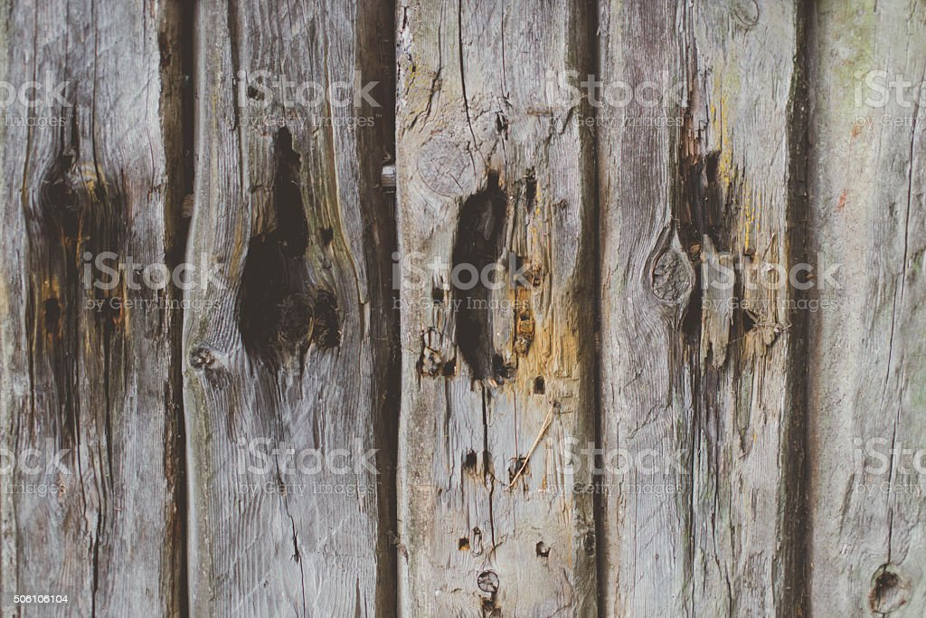 Old damaged wooden house, doors closeup stock photo