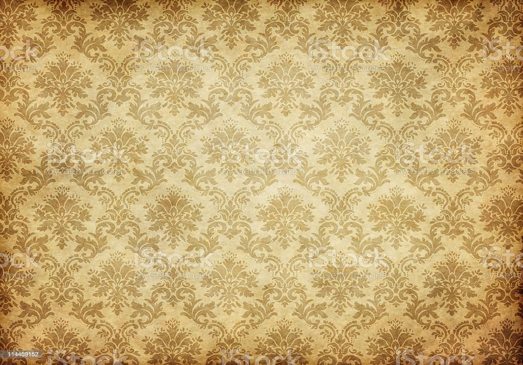 old damask wallpaper stock photo