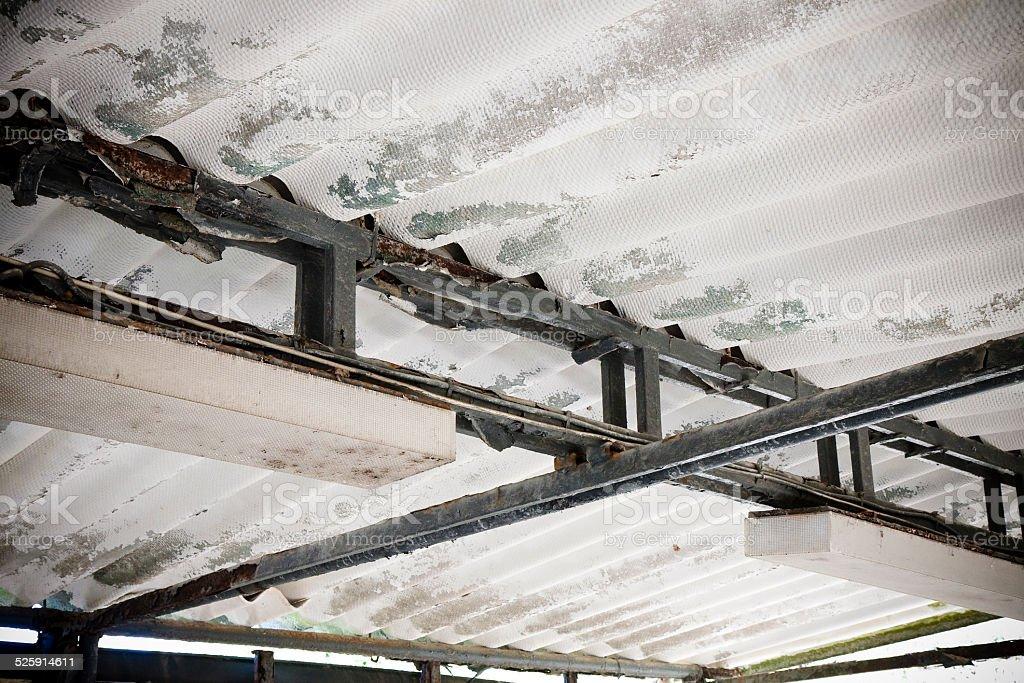 Old dangerous asbestos roof detail stock photo