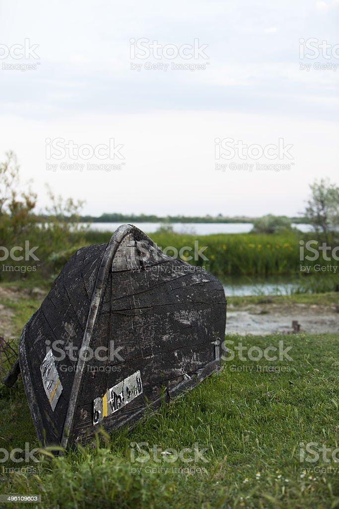 Old Danube Delta wooden boat stock photo