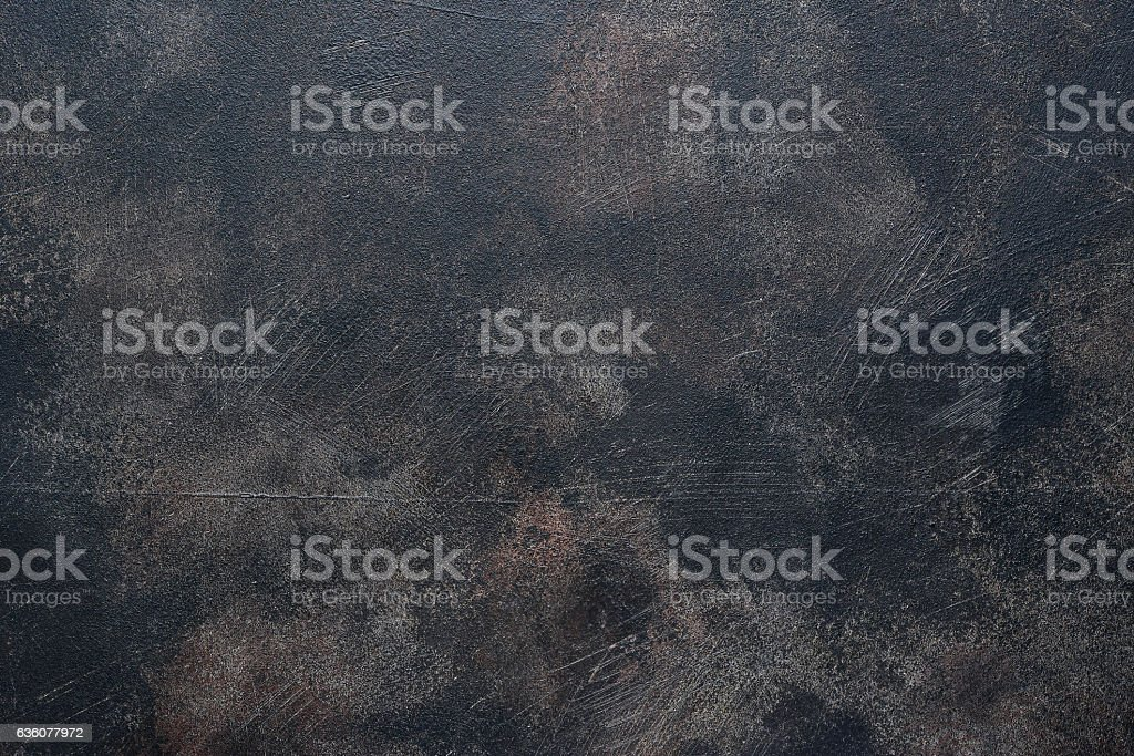 Old dark rusty metal pan. stock photo