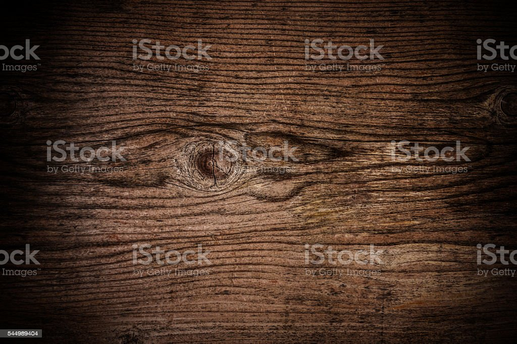 Old dark wood texture with grain, with vignette border stock photo